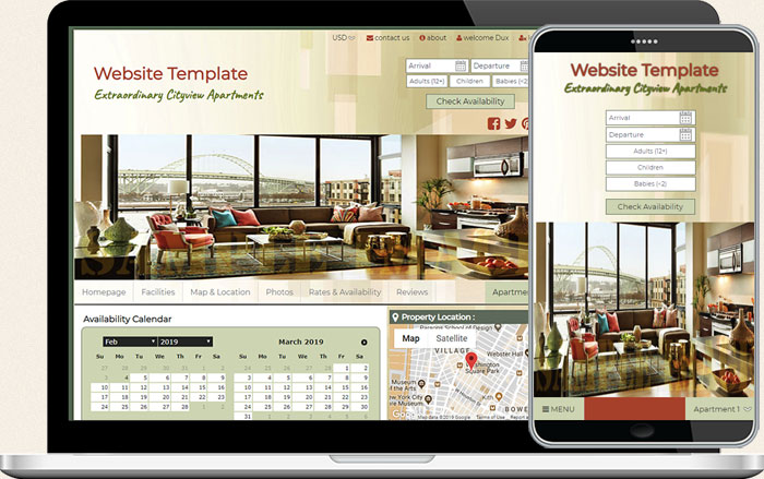Short term rental booking template 3