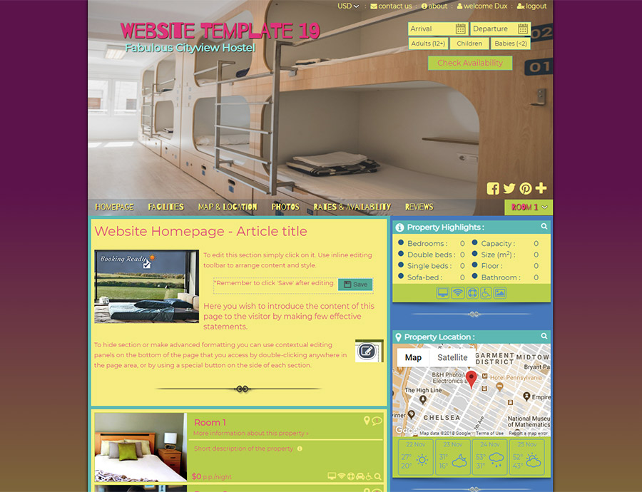 Urban Hostel - website builder template