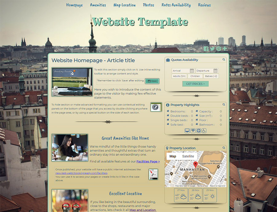 Over The City Roofs - website builder template